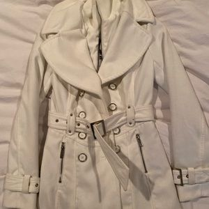 Guess Cream Peacoat with Pockets and Belt